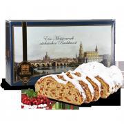 1000g Edler Mandel-Nussstollen mit weißer Schokolade in Geschenkkarton