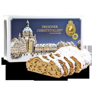 Dresdner Christstollen 750g in weißer Geschenkdose