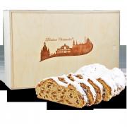 750g Original Dresdner Christstollen ® in Holzkiste - Frontansicht