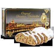 """1000g Original Dresdner Christstollen ® in Geschenkdose """"Premium"""" - Frontansicht der Geschenkedose"""
