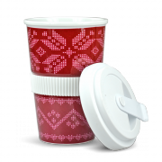 "Porzellan Coffee-To-Go Becher ""Norweger Rot"""