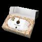 2000g Original Dresdner Christstollen ® in Geschenkkarton - geöffnete Box mit Stollen in Holzwolle