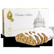 """1000g Original Dresdner Christstollen ® in Geschenkdose """"Frauenkirche"""" - Frontansicht der Geschenkedose"""