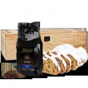 500g Dresdner Stollen® in Premium-Holztruhe mit 250g Dresdner Kaffee