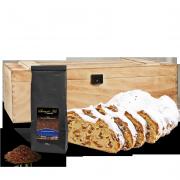 500g Dresdner Stollen® in Premium-Holztruhe mit 100g Stollentee