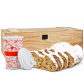 Dresdner Christstollen in Holztruhe mit Weihnachts Porzellanbecher